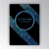 Dotes and diagonal lines page decoration. With bokeh shiny and glow sequins graphic template blue and black royalty free illustration