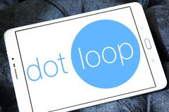Dotloop logo. Logo of dotloop on samsung tablet. dotloop is a transaction system that allows the paperwork associated with a multiparty real estate transaction Royalty Free Stock Photos