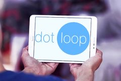Dotloop logo. Logo of dotloop on samsung tablet . dotloop is a transaction system that allows the paperwork associated with a multiparty real estate transaction Royalty Free Stock Photography