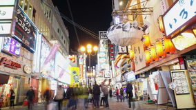 Dotonbori area shopping street and landmark at night, time lapse stock video