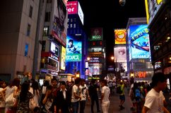 Dotonbori area for travel visit looking Billboard advertising an Royalty Free Stock Photography