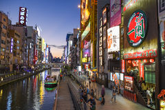 Dotonbori Canal in Namba District, Osaka Stock Images