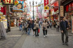 Dotonbori Osaka Japón - november5,2018: gran número de atracción turística al distrito uno del dotonbori de la mayoría de viajar  imagen de archivo libre de regalías