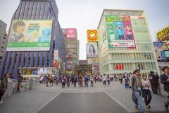 Dotonbori osaka japan - november8,2018 : large number of tourist royalty free stock images