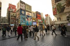 Dotonbori osaka japan - november8,2018 : large number of tourist attraction to dotonbori district one of most popular shopping stock photography