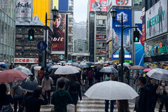 Dotonbori in raining day at Osaka, Japan stock photography