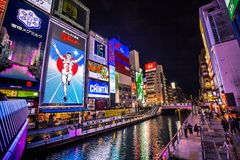 Dotonboti street in Namba is the best sightseeing attraction and famous place in Osaka. With colorful and billboard light around area in Osaka, Japan on royalty free stock photo