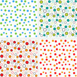 Dots backgrounds. Four seamless pattern with dots and circles royalty free illustration
