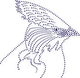 Dots bird. Rhinestones/ outline dots of a wild bird head royalty free illustration