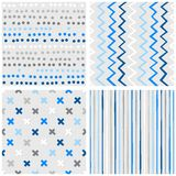 Dots chevron crosses and stripes blue seamless pattern set. Set of white gray blue vector seamless patterns with dots chevron crosses and stripes on light Royalty Free Stock Photography