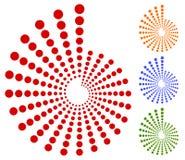 Dots, circles circular motif, element. Radiating, radial dots. Stock Photos