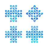 Dots cross logo set. Blue circles shapes, clean water logotype. Abstract pharmacy signs. New technology, medical vector. Symbol royalty free illustration
