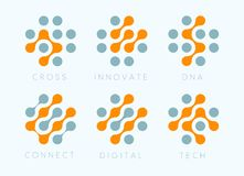 Dots cross vector emblem set. Innovate bio tech modern icons. Digital science labosatory isolated logo collection. Abstract plus symbols from orange and grey royalty free illustration
