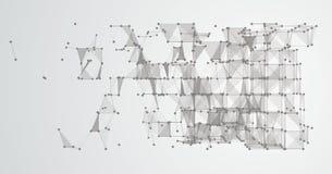 Dots Cube collegato fondo astratto LowPoly Fotografie Stock Libere da Diritti