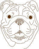 Dots Dog. Rhinestones/ outline dots of a bulldog head stock illustration