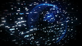 Dots Earth che gira nei campi del Cyberspace 3d royalty illustrazione gratis