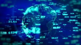 Dots Earth che gira nei campi del Cyberspace 3d illustrazione vettoriale