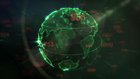 Dots Earth, der auf den Gebieten des Cyberspace 3d sich dreht vektor abbildung