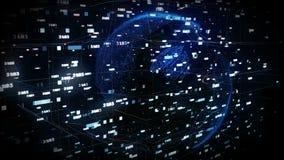 Dots Earth, der auf den Gebieten des Cyberspace 3d sich dreht lizenzfreie abbildung