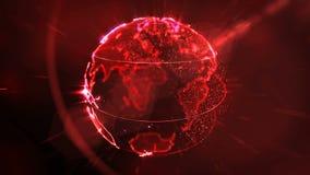 Dots Earth que gira en campos del ciberespacio 3d stock de ilustración