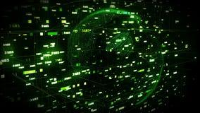 Dots Earth som roterar i fält för cyberspace 3d royaltyfri illustrationer