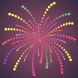 Dots Fireworks colorido simples. ilustração royalty free