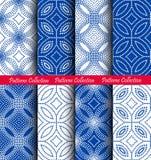 Dots Floral Patterns Backgrounds azul blanco Fotografía de archivo