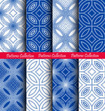 Dots Floral Patterns Backgrounds blu bianco Fotografia Stock