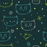Dots, flowers, cats and birds. Vector colorful seamless pattern with dots, cats and a bird Royalty Free Stock Photography