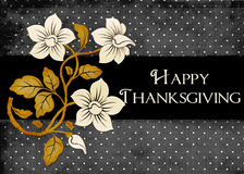 Dots & Flowers Happy Thanksgiving Card. This elegant looking background would be a lovely greeting card to send to your friends and family. Or, you could use for royalty free illustration