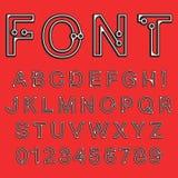 Dots font alphabet. Decorative alphabet font template. Letters and numbers dots design. Vector illustration Stock Photos