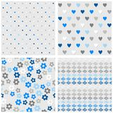 Dots hearts flowers and diamonds blue seamless pattern set Stock Photo