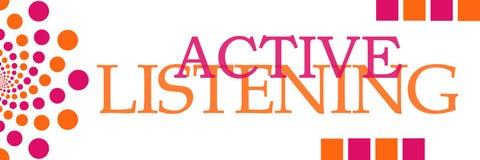 Dots Horizontal rosa arancione d'ascolto attivo Fotografia Stock
