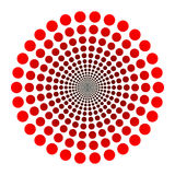 Dots logo. Vector dotted tunnel with red black gradient Royalty Free Stock Images