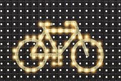 Dots matrix led diplay with illuminated symbol of bicycle. Dots matrix led diplay panel with illuminated symbol of bicycle royalty free stock photo