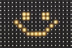 Dots matrix led diplay with illuminated symbol of smile face. Dots matrix led diplay panel with illuminated symbol of smile face stock photos