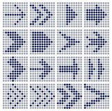 Dots mosaic arrows. Arrow sign icon set  dots mosaic - vector illustration web design elements. Every arrow grouped, you can simply change color Royalty Free Stock Images