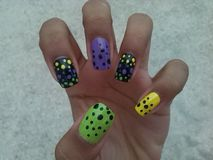 Dots nail art. Dots nails wow Stock Photos