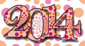 2014 Dots Pattern. 2014 Text on a peach background with pink and orange dots stock illustration