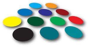 Dots shadow. A group of colorful circles with drop shadow Stock Photo