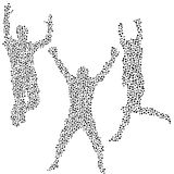 Dots silhouettes of men jumping Stock Photos