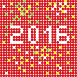 2016 dots stencil. New Year 2016 greetings card stencil, pixel illustration of a scoreboard composition with digital text made of dots stock illustration