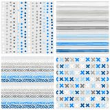 Dots stripes chevron and crosses blue seamless pattern set Royalty Free Stock Photography