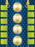 Dotted 2012 calendar. 2012 zipper calendar on dotted blue background Royalty Free Stock Photo
