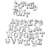 Dotted abc letters hand drawn with ink and decorated with lines and dots. English font good for writing titles and lettering.  stock illustration
