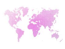 Dotted abstract vector map of World. World map of pink dots on white background in corss arrangement. Map of world silhouette flat halftone vector theme vector illustration