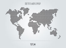 Dotted abstract world map. Vector illustration. Black round dots Royalty Free Stock Photos