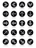 Dotted arrows round icons set on white vector illustration