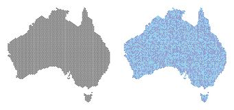 Dotted Australia Map Abstractions. Circle dot Australia map version. Vector territorial plans in black color and blue color tones. Abstract composition of Stock Photo