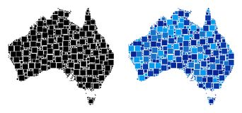 Dotted Australia Map with Blue Version. Dot Australia map versions. Abstract geographic map variant designed with cold blue color tinges. Vector composition of stock illustration